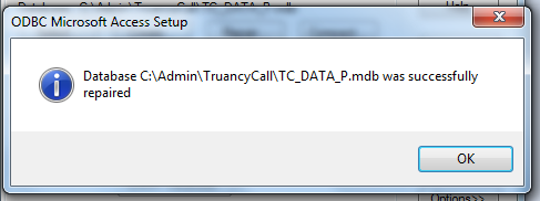 Database successfully repaired